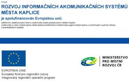 Projekt EU - Rozvoj informačních a komunikačních systémů města Kaplice