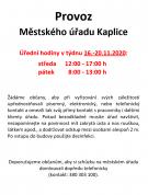 Provoz MěÚ 16.-20.11.2020